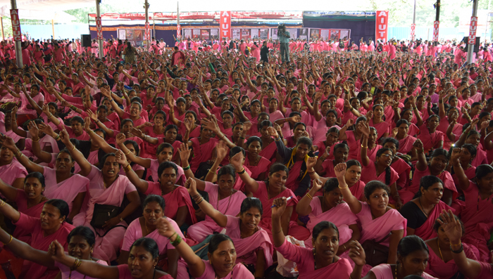 More than 15,000 ASHA workers in Freedom Park, Bangalore struggling for their legitimate demands.