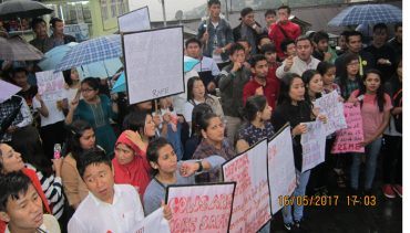 Protest rally of students of Sikkim organised by AIDSO against gang rapes
